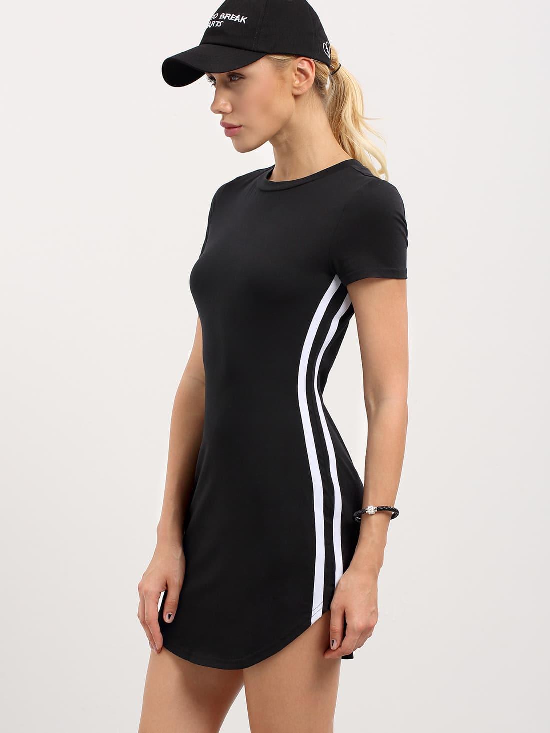 Black Short Sleeve Striped Side T-shirt Dress -SheIn ...