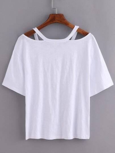 Camiseta suelto con corte blanco spanish shein sheinside for Suelto blanco suelto barato
