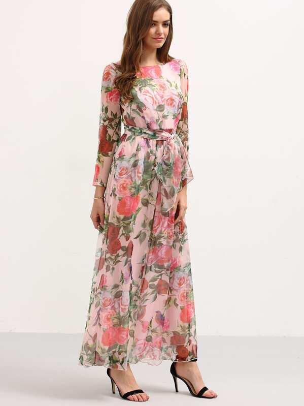 341eb6a9e8287 فستان شيفون وردي بطباعة ورد كم طويل