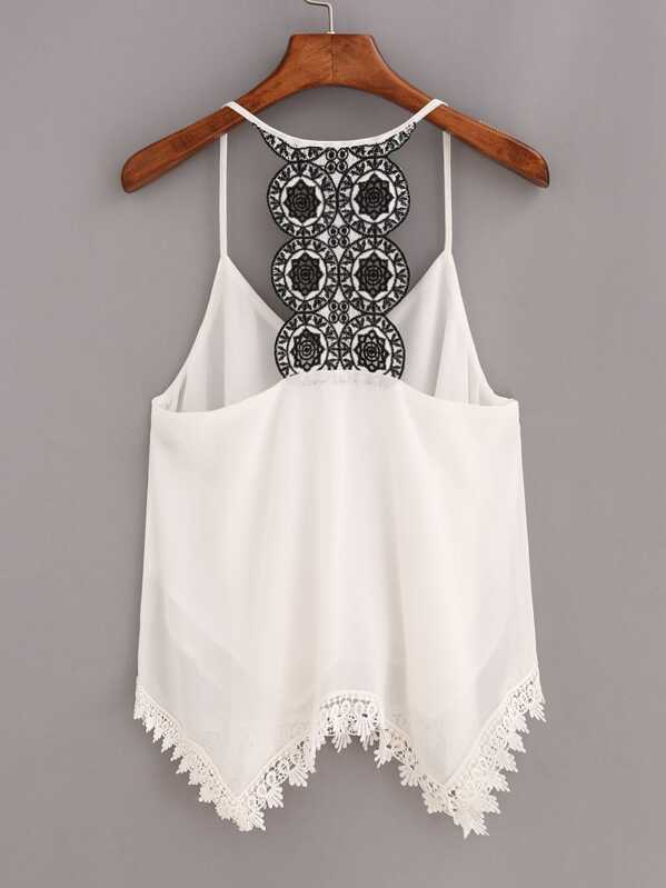 a5108bf1b379 Contrast Racerback Lace Trimmed Cami Top - White | SHEIN