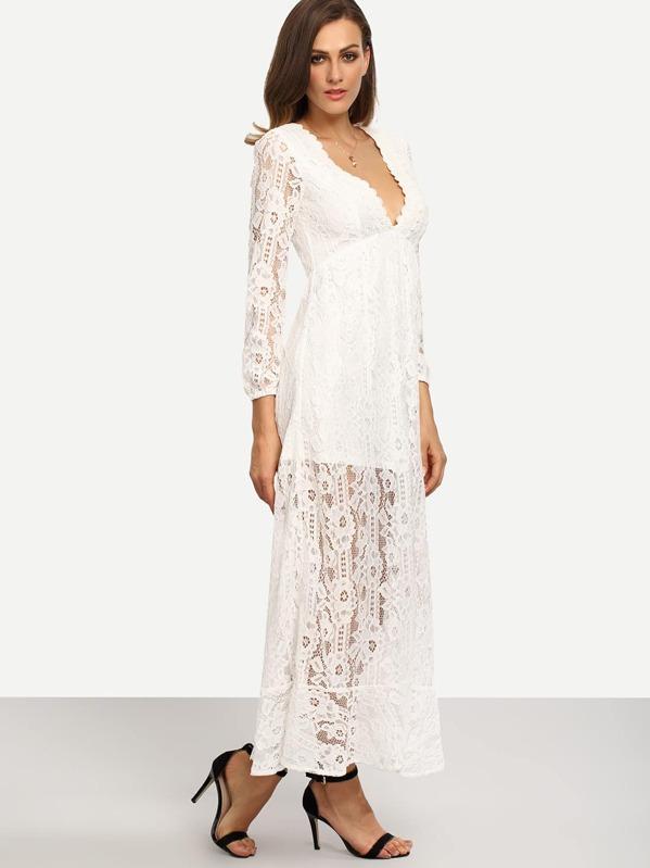 78db55438476 Cheap White V Neck Long Sleeve Lace Maxi Dress for sale Australia ...
