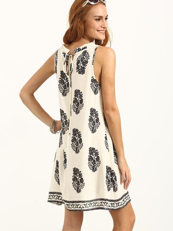 f93e616c07 Tie Back Leaf Tribal Print Beach Dress | SHEIN UK