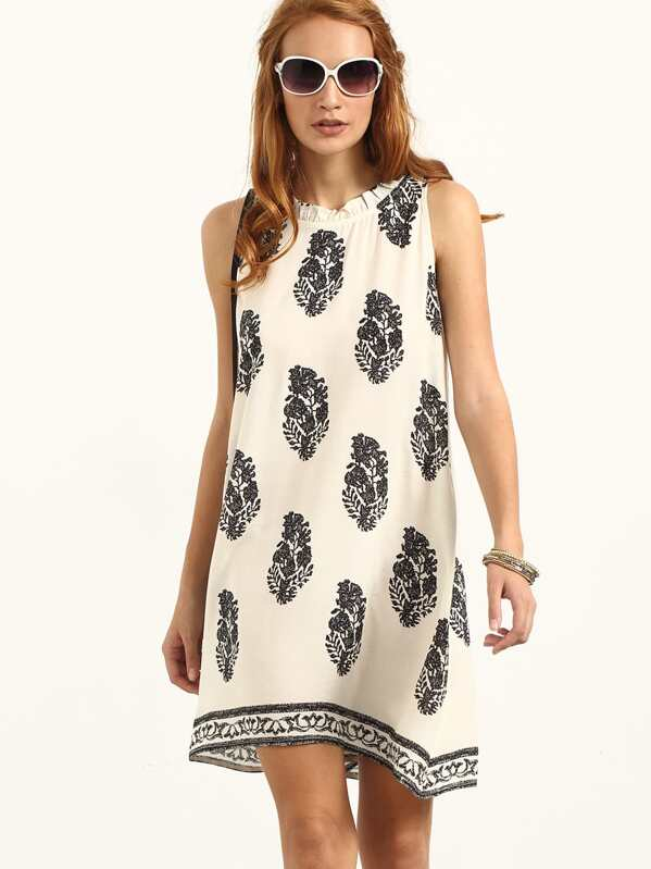 9caf23c519 Tie Back Leaf Tribal Print Beach Dress. AddThis Sharing Buttons