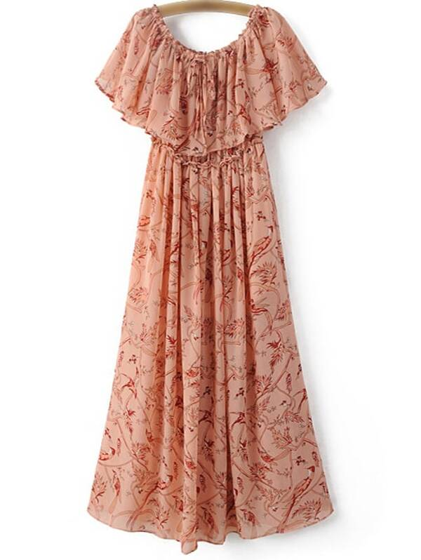 74db3c076b Cheap Pink Ruffle Boat Neck Chiffon Print Midi Dress for sale Australia |  SHEIN