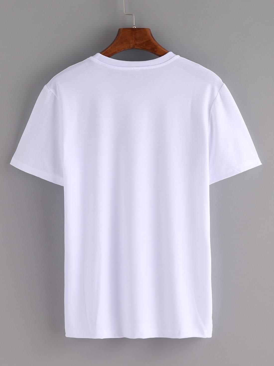 Bee cherry embroidered t shirt white shein sheinside