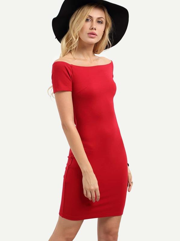 a51d90ac3c Red Zipper Off The Shoulder Short Sleeve Dress   SHEIN
