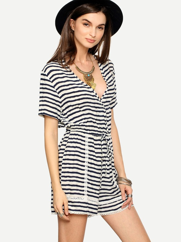 Multicolor Striped V Neck Tie Waist Jumpsuit Sheinsheinside