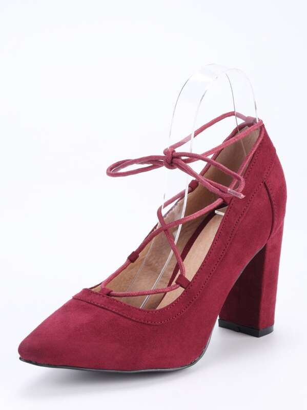 fdfb4cac59ff Faux Suede Lace-Up Pointed Toe Heels - Burgundy -SheIn(Sheinside)