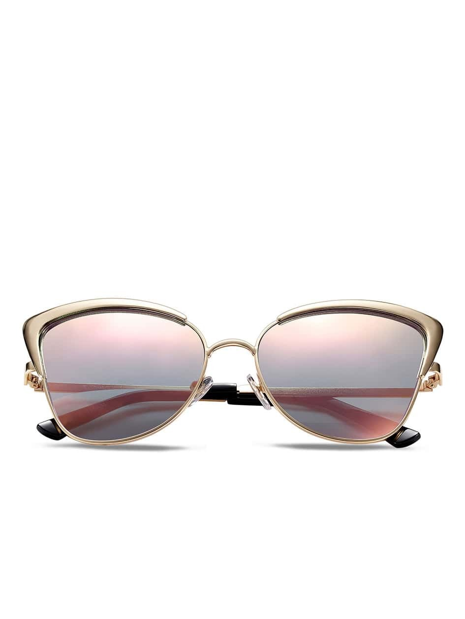 Gold Frame Pink Lenses Sunglasses -SheIn(Sheinside)