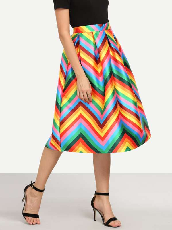 2ffc65b143 Colorful Chevron Print Box Pleated Midi Skirt | SHEIN