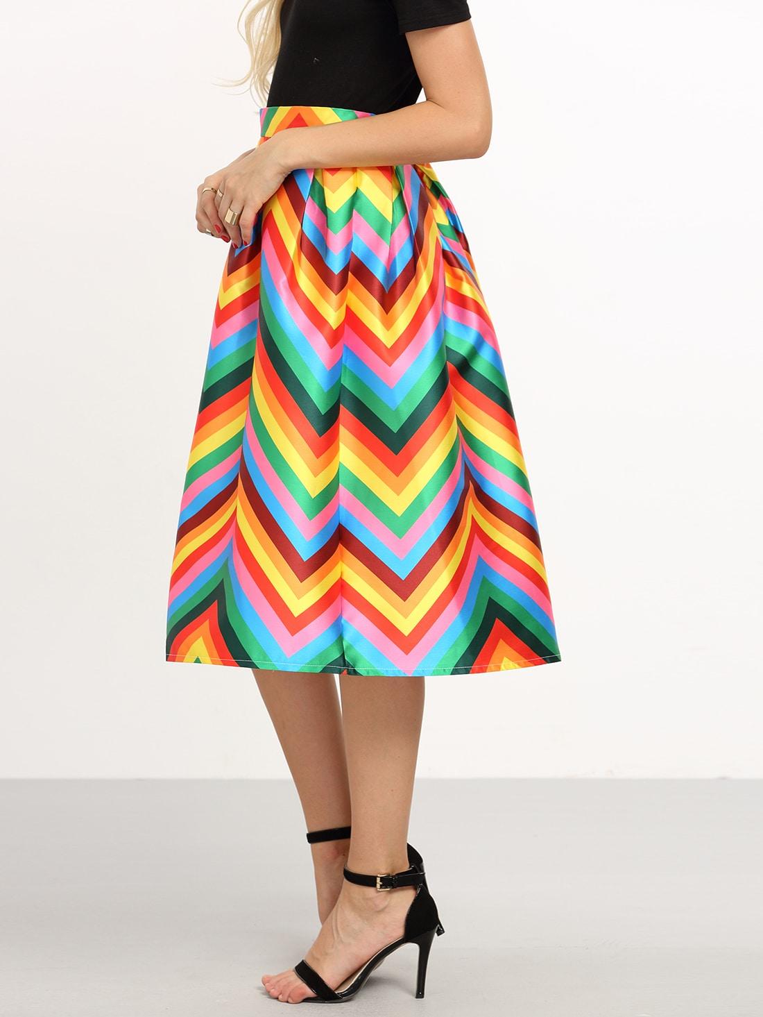 colorful chevron print box pleated midi skirt shein