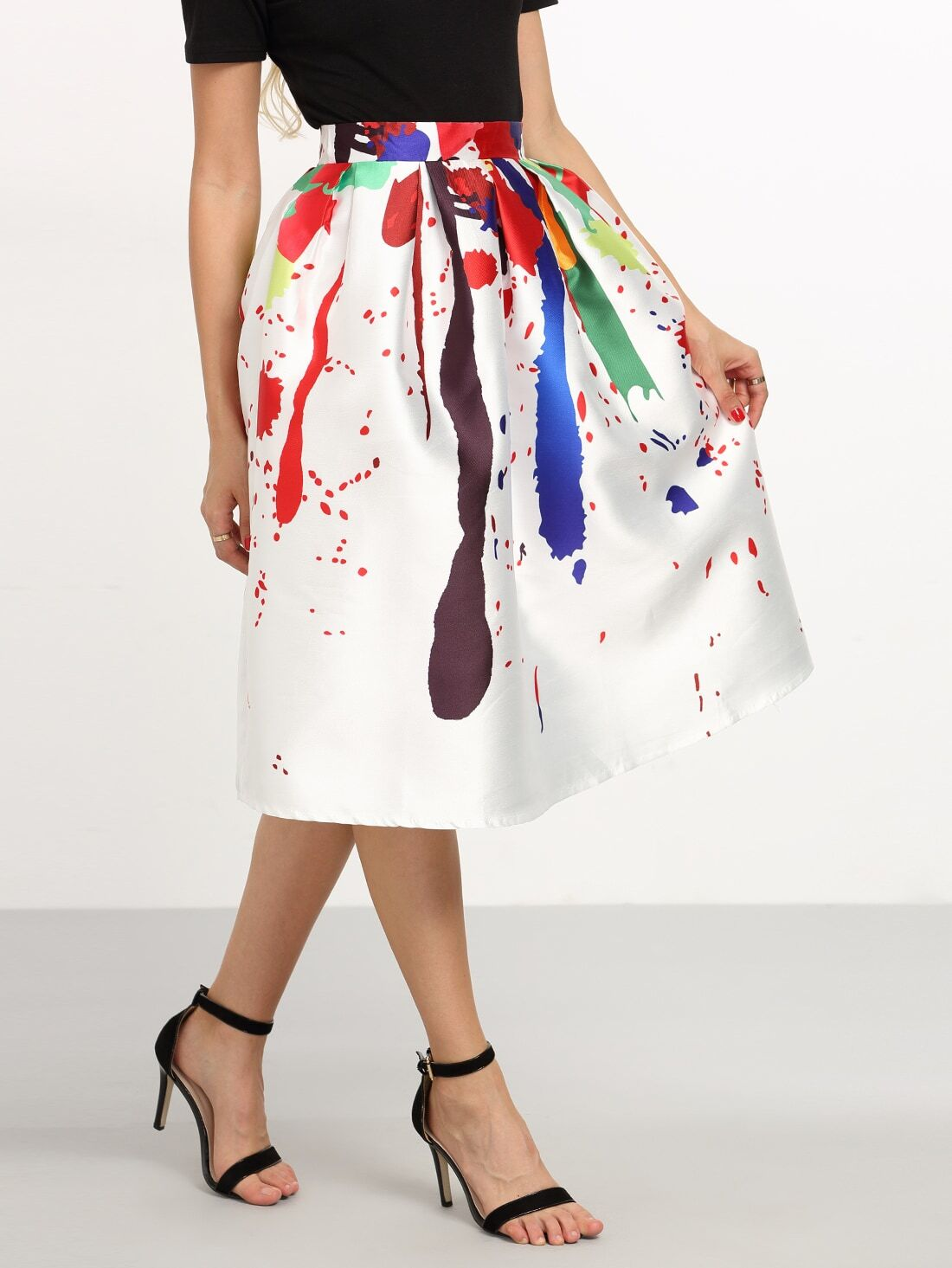 Multicolor Paint Splatter Print Box Pleated Midi Skirt -SheIn ...