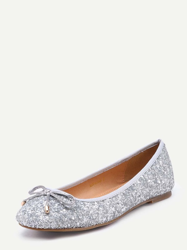 e64a999d Bow Tie Glitter Ballet Flats - Silver | SHEIN IN