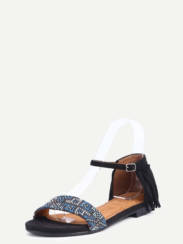 7b277ce6923972 Faux Suede Studded Ankle Strap Sandals - Black -SheIn(Sheinside)