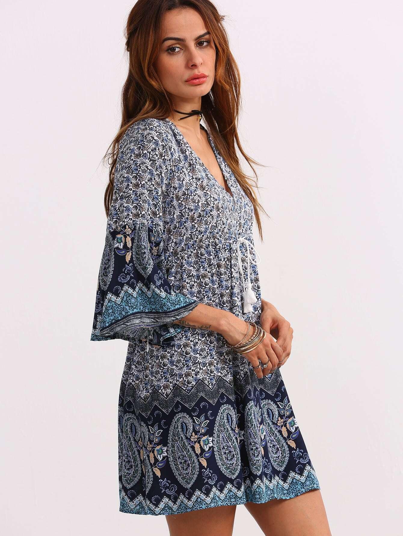 Double V-Neck Bell Sleeve Multicolor Paisley Print Dress