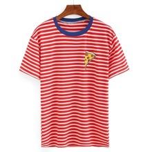 SHEIN   Contrast Neck Pizza Print Striped T-shirt   Goxip