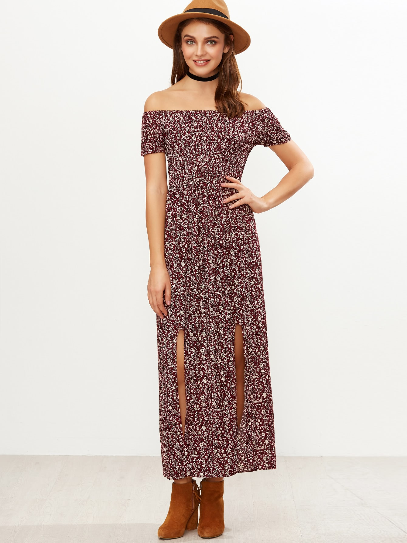 Shirred Off-The-Shoulder Slit-Front Floral Dress - Burgundy