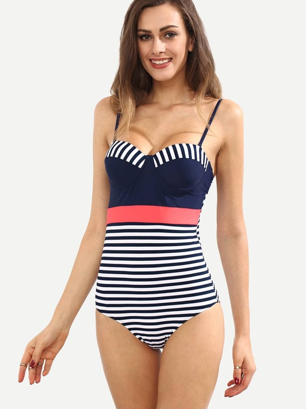 4aef4ca1bf Multicolor Striped Backless One-Piece Swimwear | SHEIN