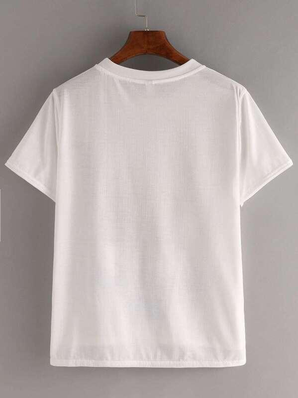 3c05c23012658f Kurzarm T-Shirt hinten länger mit Druckmuster | SHEIN