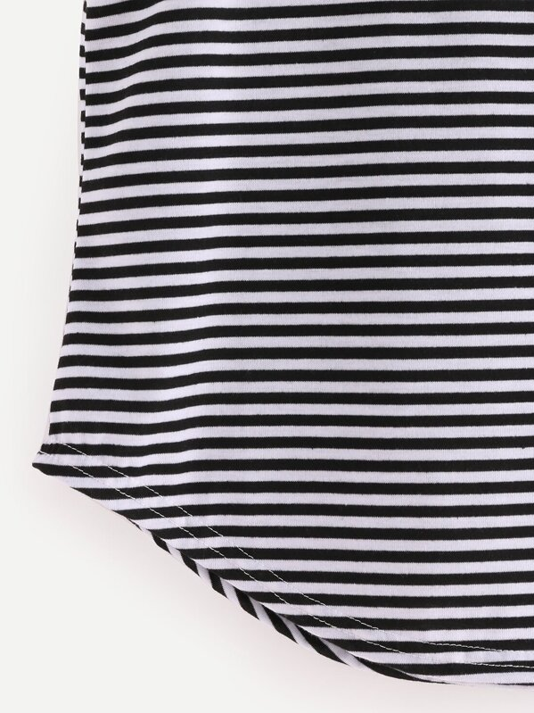 bfc6d5c5103884 Black White Striped Curved Hem Tank Top -SHEIN(SHEINSIDE)