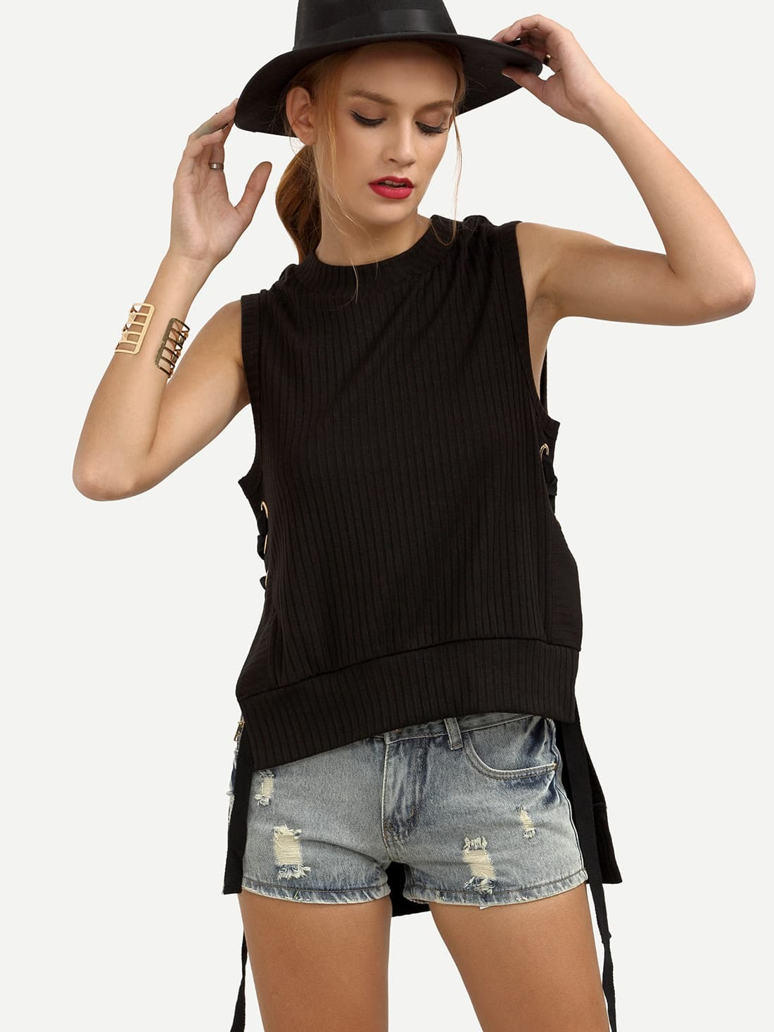 Black Lace Up Side Tank Top Shein Usa