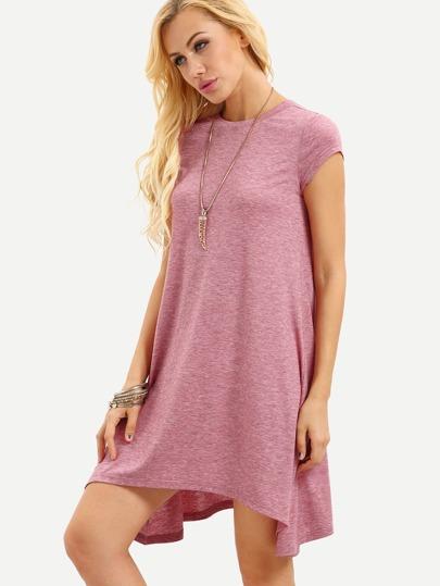 Vestito sciolto asimmetrico con maniche corte - rosa f27d883acdc