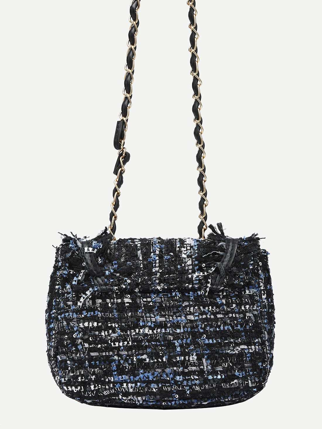 d1811228030df3 Turnlock Closure Tweed Flap Bag - Blue | SHEIN UK