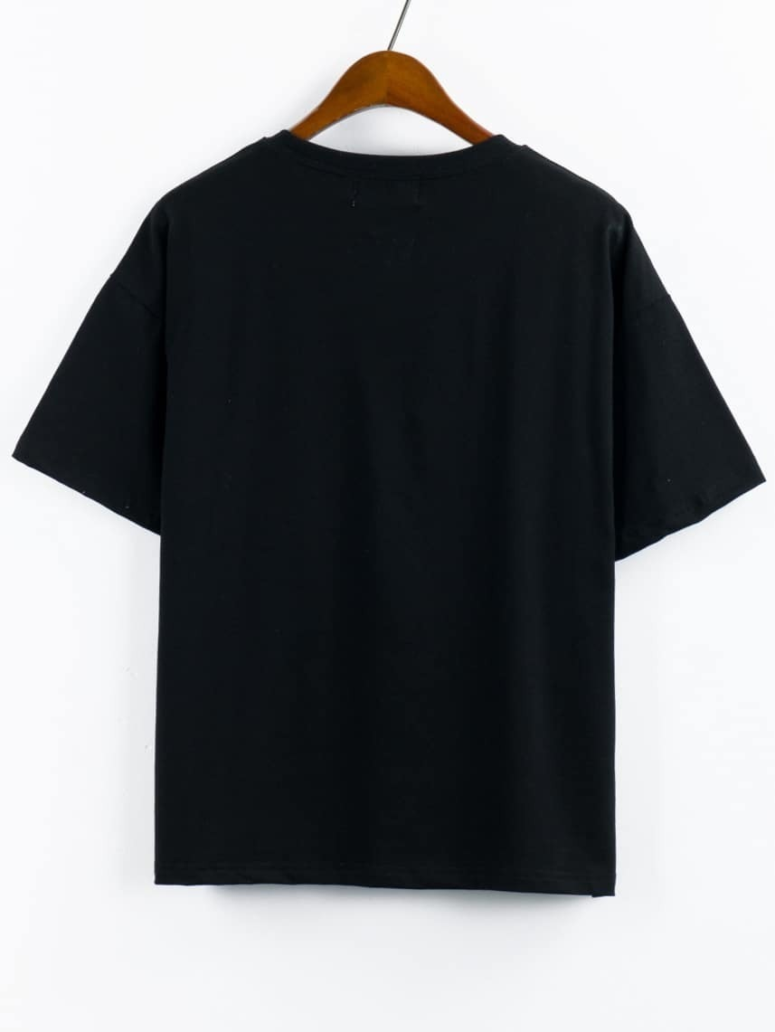 Printed pocket t shirt black shein sheinside for Pocket t shirt printing