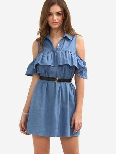 Blue Cold Shoulder Roll-up Collar Ruffle Dress
