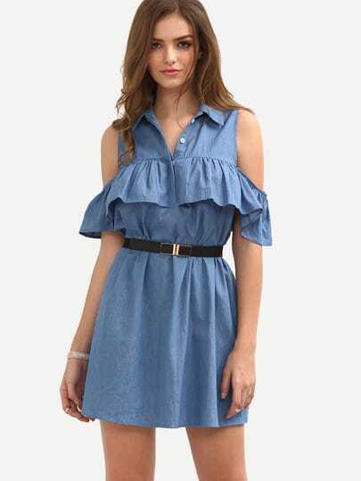 Blue Cold Shoulder Roll-up Collar Ruffle Dress