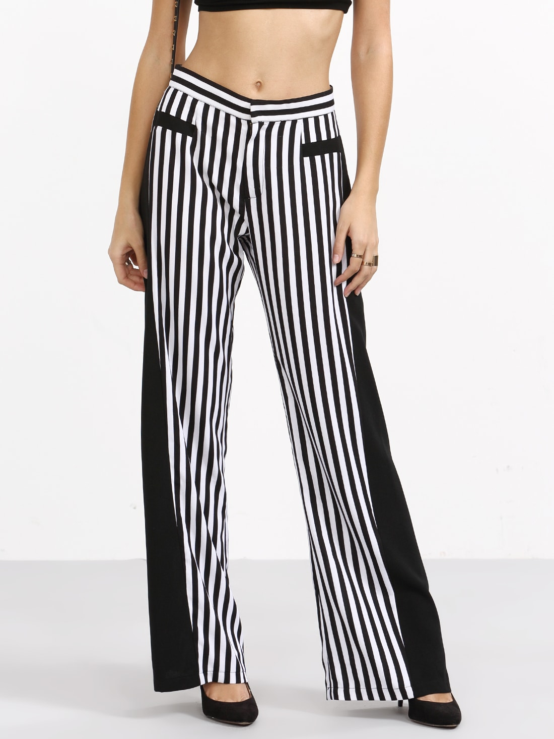 Jun 17,  · Black and white striped pants are probably the most popular option, and also the most versatile. Keep them simple by wearing them with sneakers and a solid colored tee. Source.