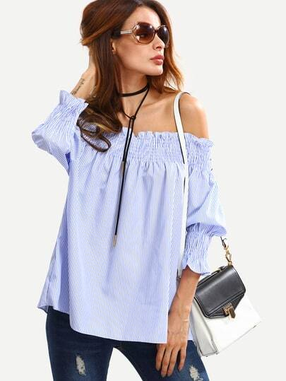 Shirred Off-The-Shoulder Vertical Striped Blouse - Blue