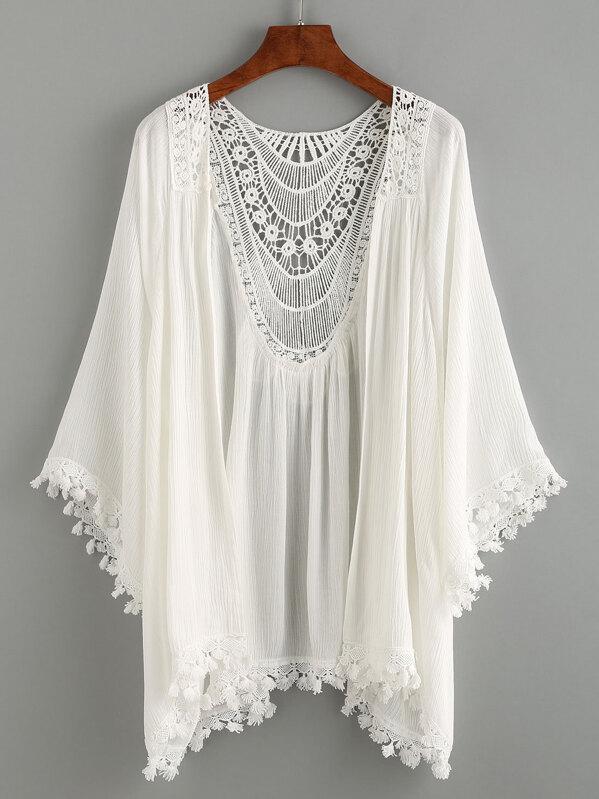 Kimono ribete de encaje crochet -blanco-Spanish SheIn(Sheinside)