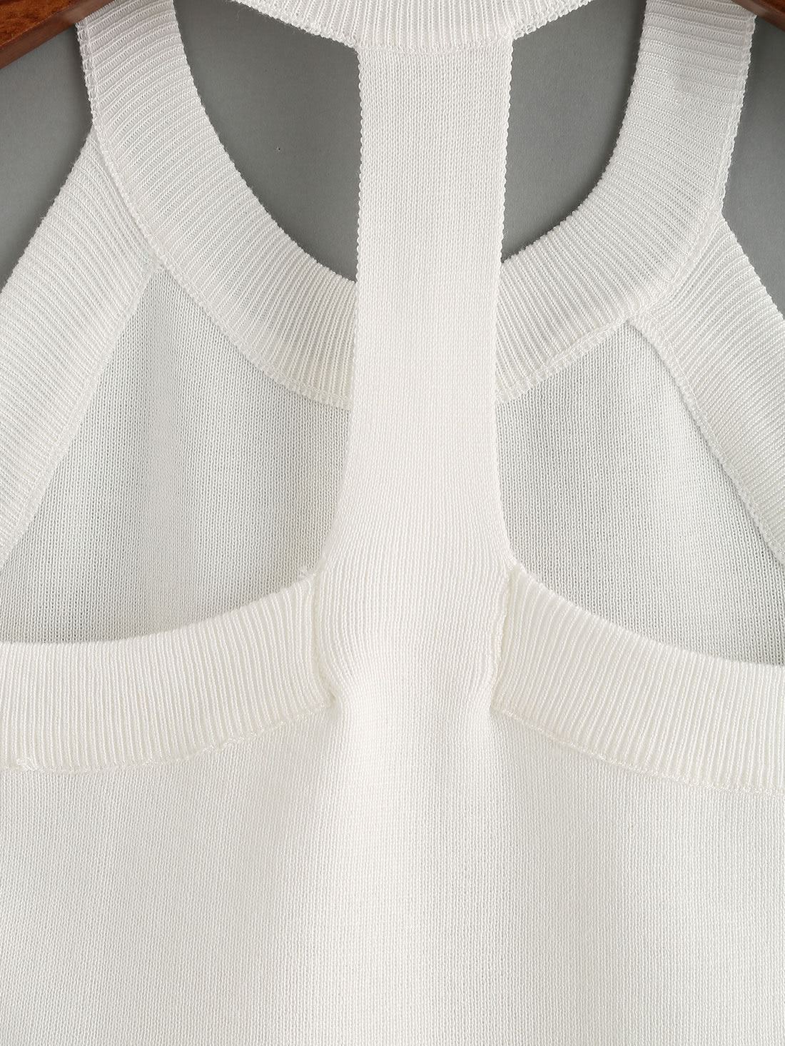 Knitted Slim Racerback Top - White