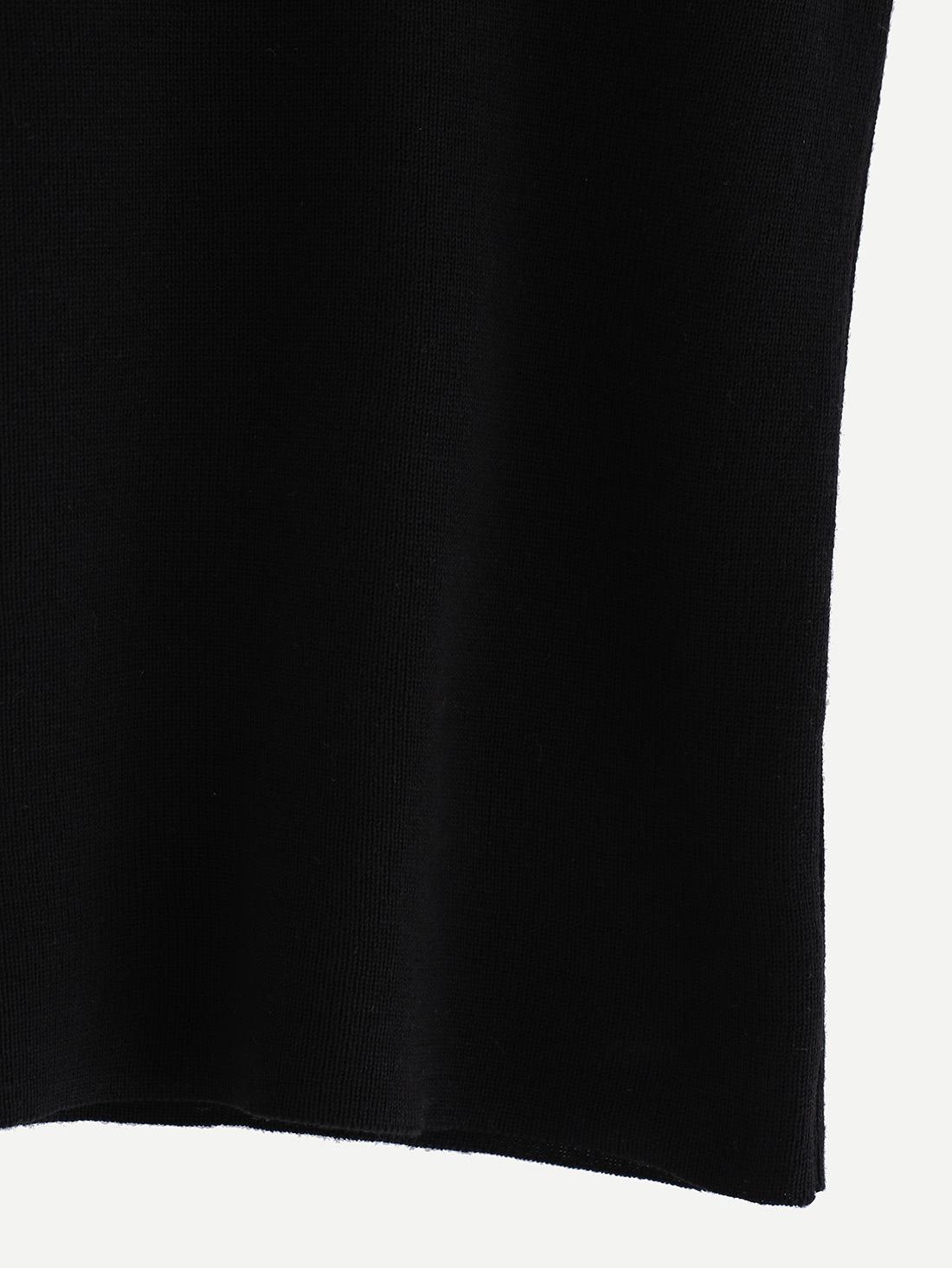 Knitted Slim Racerback Top - Black