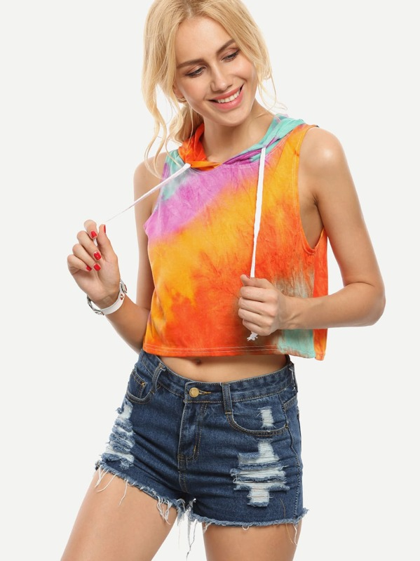 4ac99d2bf37382 Multicolor Tie Dye Print Hooded Crop Top -SheIn(Sheinside)