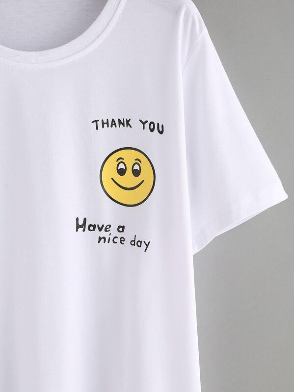37f0df2911 Smiley Face Print T-shirt - White | SHEIN