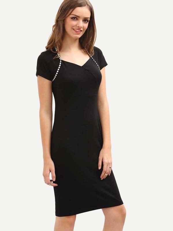 Sweetheart Neckline Pencil Dress Black Sheinsheinside