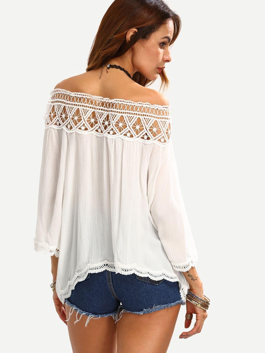 Blusa hombro al aire crochet hueco -Spanish SheIn(Sheinside)