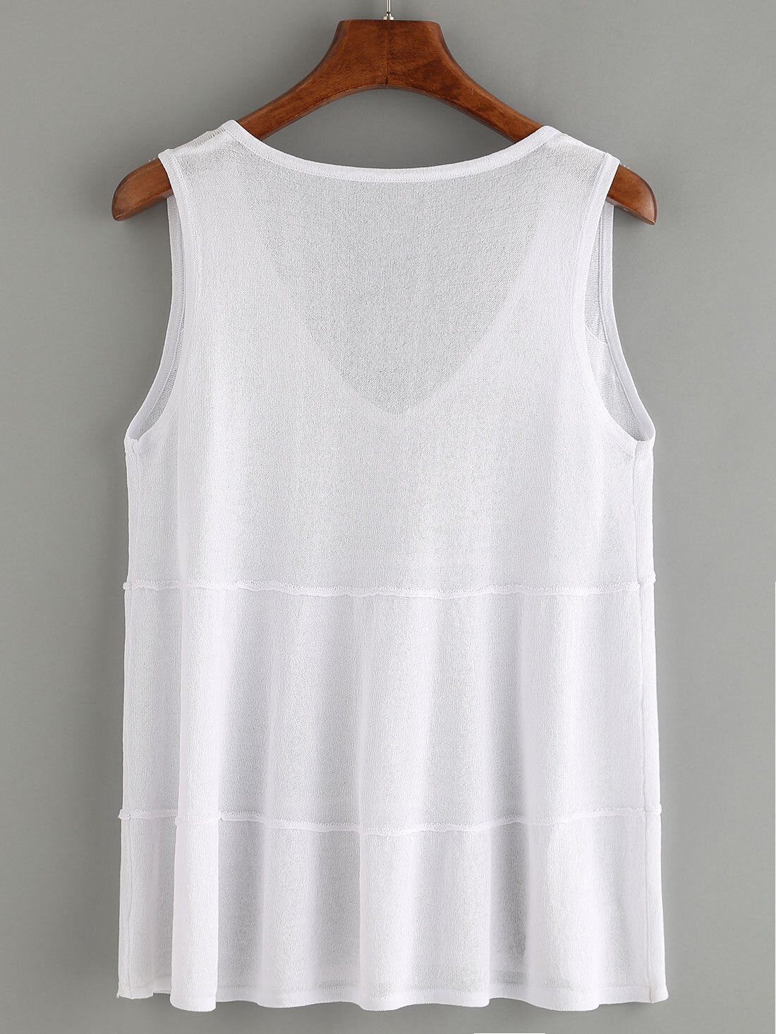 White V Neck Knitted Tank Top -SheIn(Sheinside)