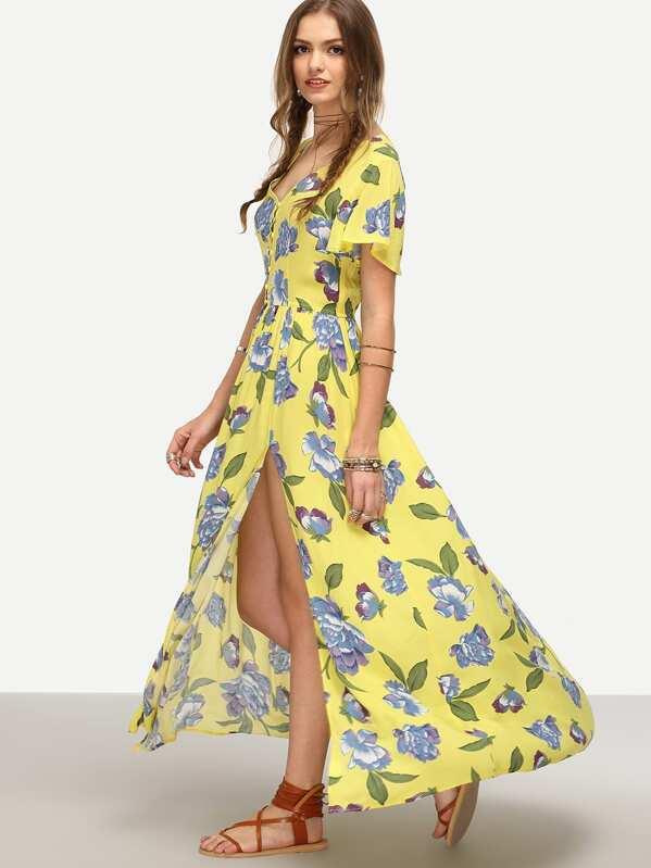 029b315db68ea Yellow Floral Print Split Maxi Dress