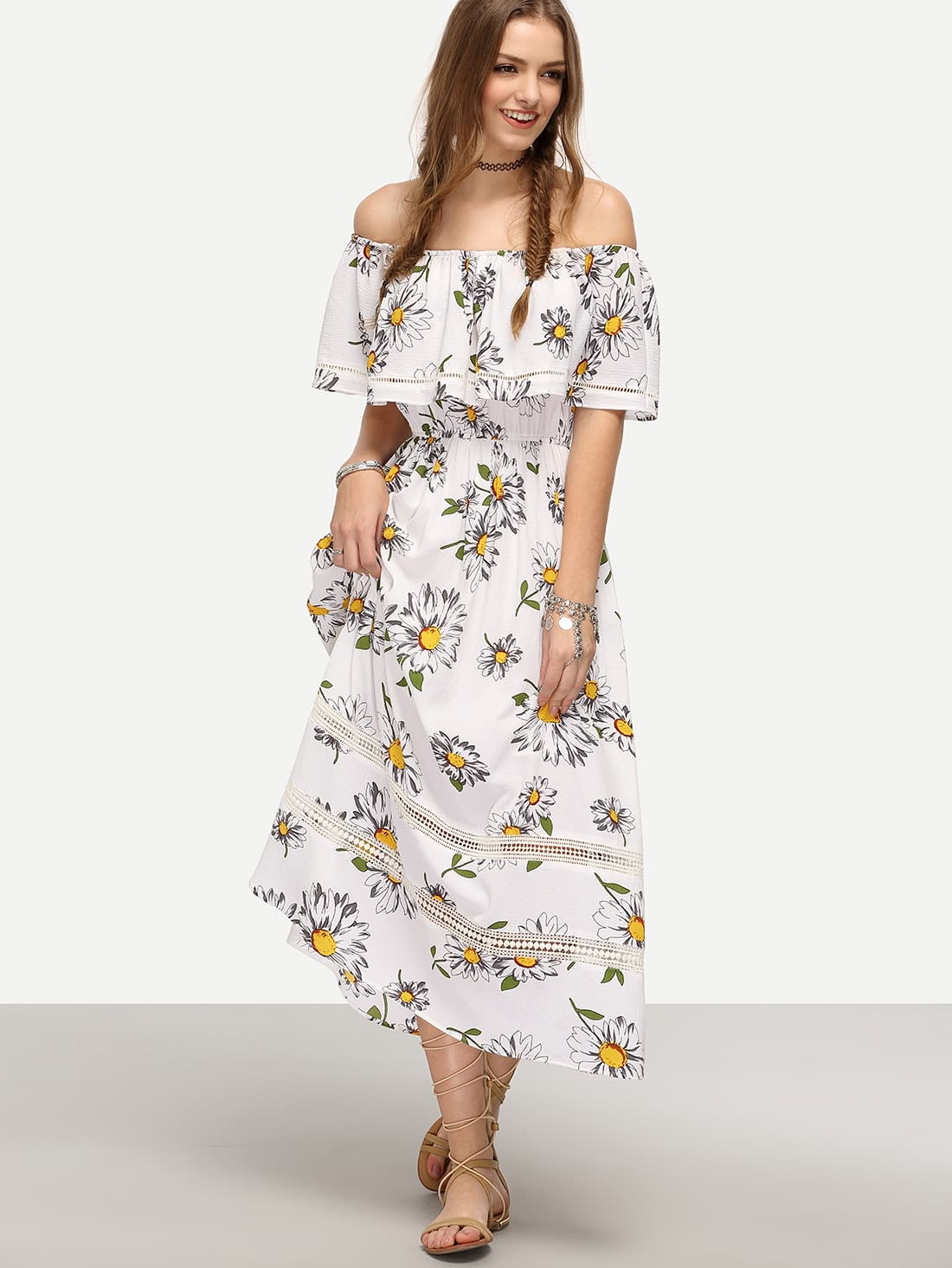 8b7486b6c5 White Off The Shoulder Flower Print Maxi Dress