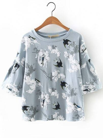 Swallow Printed Fluted Sleeve Blouse