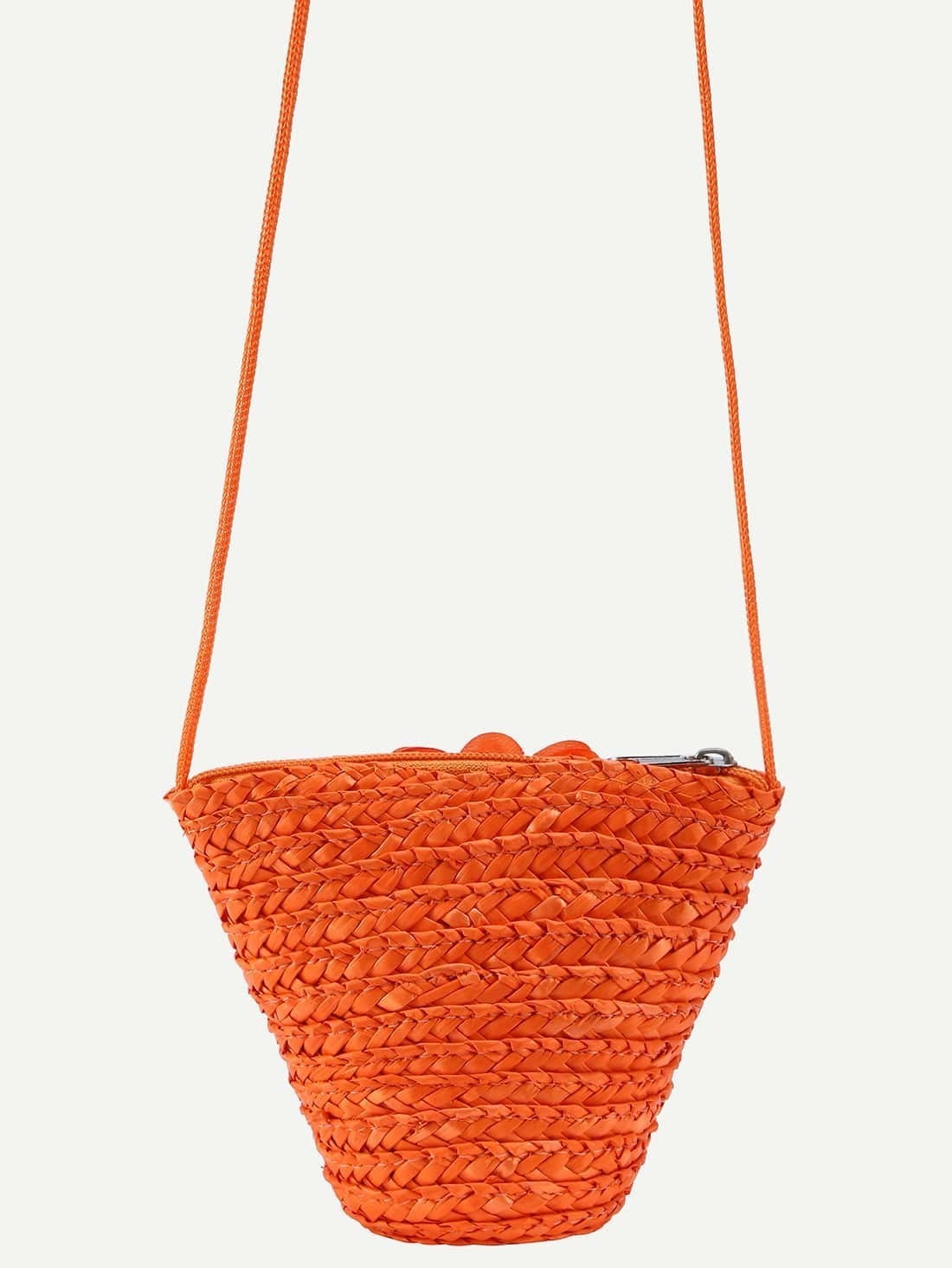 orange flower embellished straw crossbody bag shein