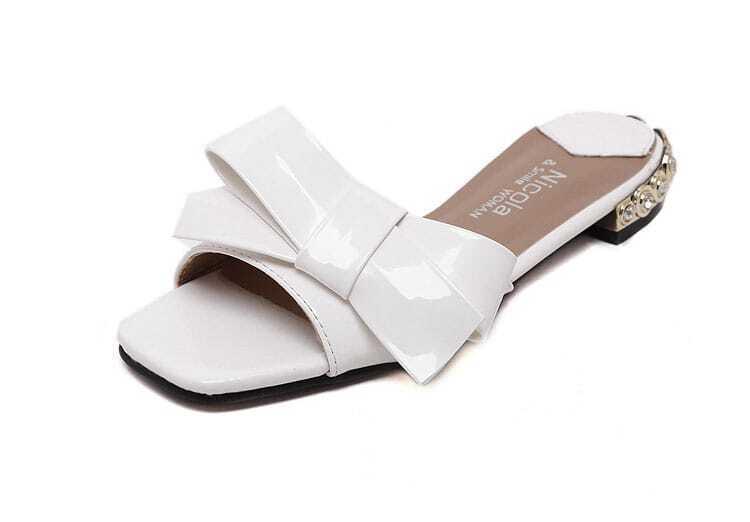 slippers offen mit schleife verziert german shein sheinside. Black Bedroom Furniture Sets. Home Design Ideas