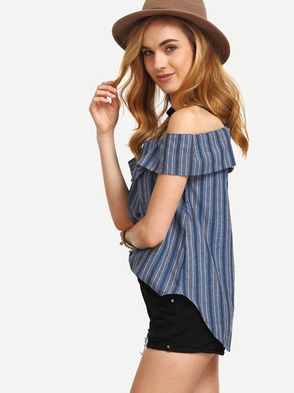 Multicolor Vertical Striped Fold Over Cold Shoulder Blouse Shein