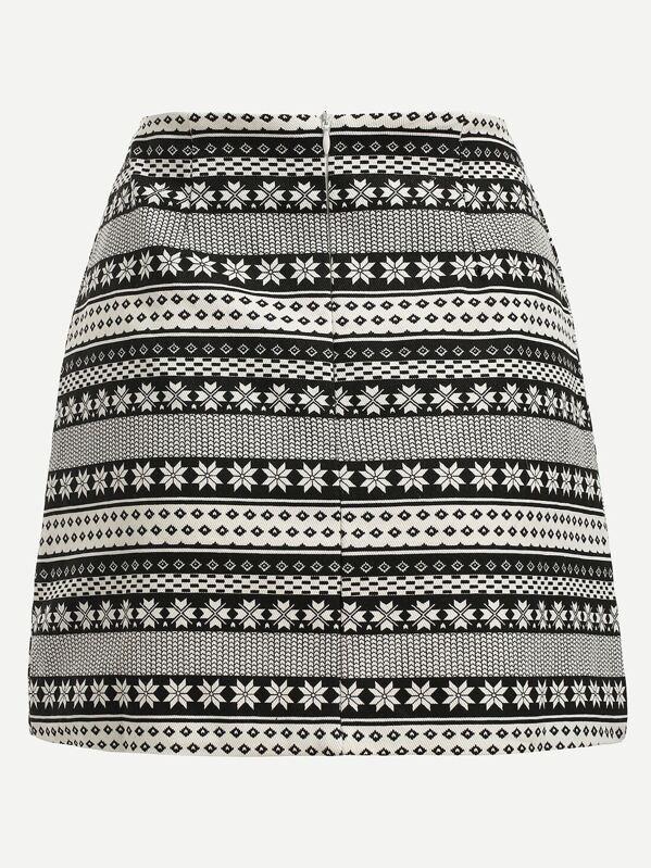 04ea5d5c68 Black White Tribal Print A-Line Skirt   SHEIN
