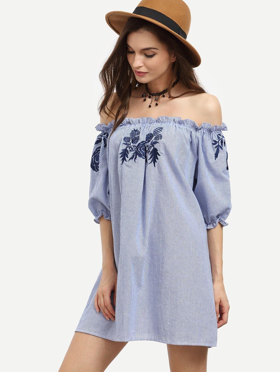 Blue Vertical Striped Embroidered Off The Shoulder Dress -SheIn(Sheinside)