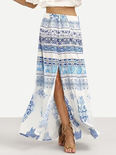 Blue Vintage Print Slit Skirt