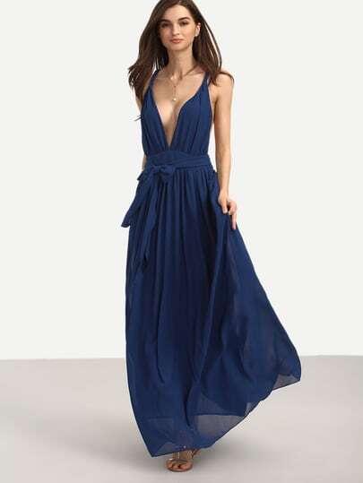 robe longue col v sans manche avec ceinture bleu marine french shein sheinside. Black Bedroom Furniture Sets. Home Design Ideas